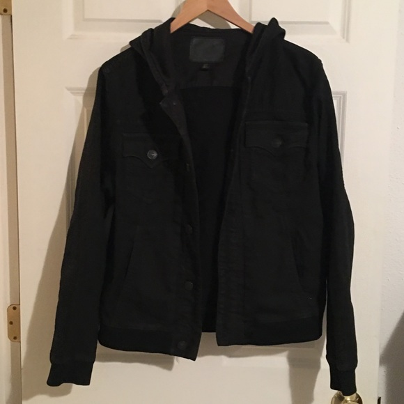 True Religion Other - True Religion Black Denim Hooded Jacket. Sz M.